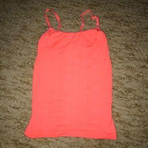 Athleta coral tank top with shelf bra
